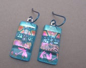 Dichroic glass earrings Aqua Lagoon blue pink turquoise thin strips patchwork fused glass turquoise niobium ear wires dragonfly earrings
