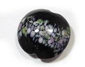 Spring Fling Sale Handmade Glass Lampwork Bead, Black Flowers Jumbo Lentil Focal