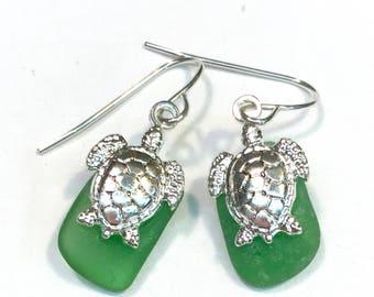 Beach Glass Turtle Earrings