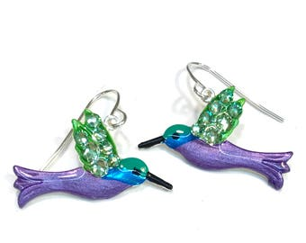 Hummingbird Earrings Hand Painted and Crystalized Wings