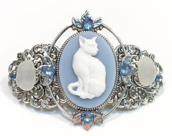 Barrette Blue and White Cat Cameo with Beach Glass and Crystal Accents