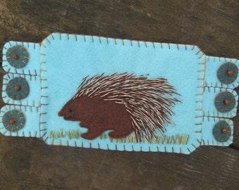 Animal Fiber Art, Animal embroidery, Porcupine,  Drink coaster, Handmade Penny Rug, Wool Felt Coaster