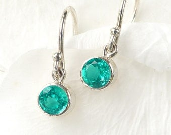 May Birthstone Earrings | Emerald | Sterling Silver | Handmade in the UK