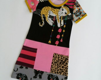 Size 3 upcycled toddlers leopard dress, girls clothing, children's clothing,  gift, girls dress, ooak, animals , girls clothes, unique