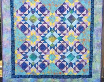 PDF Quilt Pattern, Intermediate Quilt Pattern, Ocean Quilt, Download Quilt Pattern, Beach Quilt, Tidepools