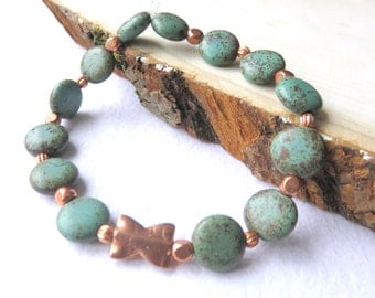 Turquoise Copper Bracelet, Green Coin Beads, Turquoise Stretch Bracelet, Southwestern Style Beaded Jewelry, Dainty Gemstone Bracelet