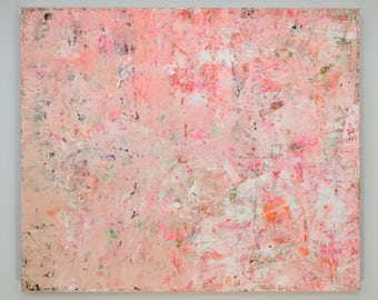 "ORIGINAL Abstract Art, Huge Acrylic Painting ""Coralline"" by Lisa Carney, Color Field, Large abstract painting, Pink Abstract Art, Minimalist"