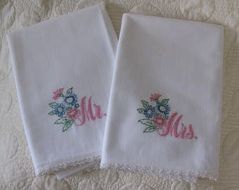 Vintage Pillowcases Pillowslips, Mr and Mrs, Wedded Bliss, White with Pink Letters, Blue, Pink Flowers, Lace Tatting Embroidery, Needlework
