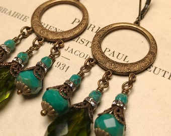 Chandelier Circe Earrings in Olive Green and Turquoise