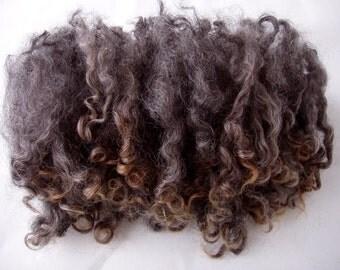 0.7oz/20g, Wensleydale locks, wensleydale curls, natural silver grey curls, felting wool, spinning fiber, fleece, dolls hair, felting fiber