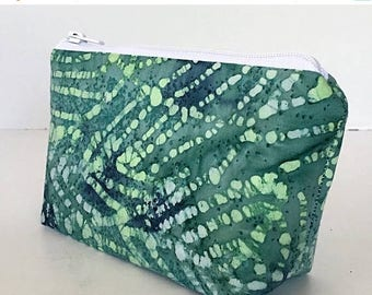 SALE makeup bag, small cosmetic bag, navy blue, green, leaves, palm, organizer pouch, dee's designs, toiletry bag
