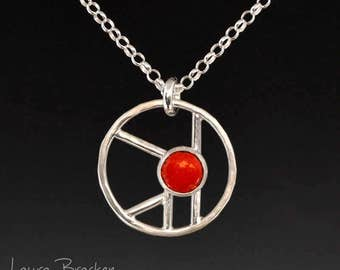 Abstract Geometric Design Sterling Silver Pendant with Red Accent