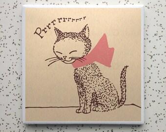 Purr Kitten Tile Coaster