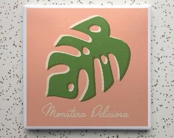 Monstera Deliciosa Philodendron Houseplant Tile Coaster