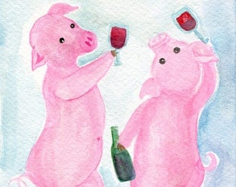 Happy Pigs drinking wine watercolor painting original,  red wine swilling swine, humorous pig art