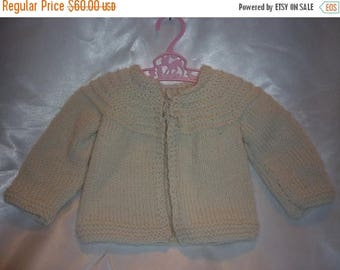 Plush Cashmere Merino Blend Hand Knit Newborn to 4 Month Baby Sweater in Cream