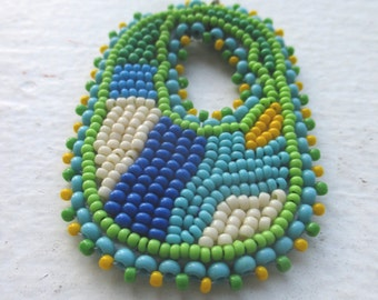 Cool Seas Bead Embroidered Pendant