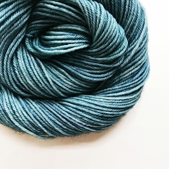 SLATE hand dyed yarn fingering sock dk bulky yarn super wash merino wool yarn single or ply. choose your base. medium blue grey yarn