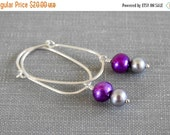 ON SALE Pearl Earrings, Purple Pearls, Grey Pearls, Sterling Silver, Hoop Earrings, Silver Earrings, Dangle Earrings, Silver Jewelry,