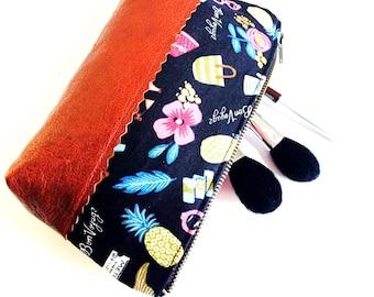 Bon Voyage Black Makeup Bag, Small Leather Pouch, Leather Zipper Pouch, Womens Leather Pouch, Leather Makeup Bag, Leather Cosmetic Bag