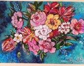 DEPOSIT for Sarah. Ocean Flowers, Original Painting, Joy, Bohemian, Art, Cheery, Rustic, Wall Art, Home Decor, Cottage Decor, Beach, Coastal