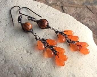 OLIVE Wood and CARNELIAN earrings, woven sterling silver earrings