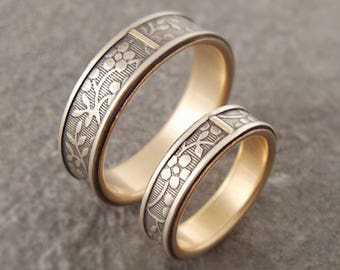 Sterling Silver Gold Wedding Band Set Womens Wedding Band Mens Wedding Band Womens Wedding Ring Set Mens Wedding Ring Aloha Floral Ring