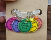 Knitting Quotes Stitch Markers Volume 4 (Set of 5) - Made To Order
