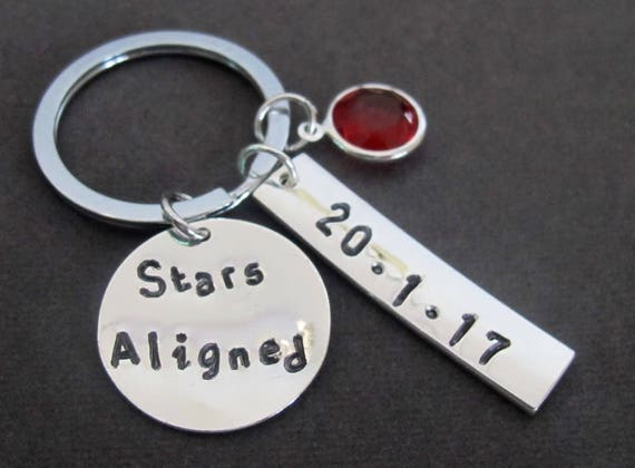Stars Aligned Keychain, Astrology KeyChain,Date of Birth Keyring,Stars aligned gift,Inspirational gift,Thanking Stars gift,Free Shipping USA