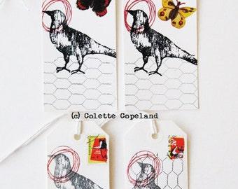 Original tag art, set of 4, bird, butterflies, Nature