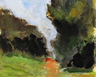 Daily Walk,  original painting, landscape with trees, acrylic on paper