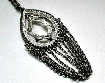 Vintage Silvertone Medallion Pendant on Chain Vintage Necklace - Large Pendant with Multi Hanging Chains