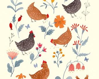 Chicken Garden 8.5 x 11 Print