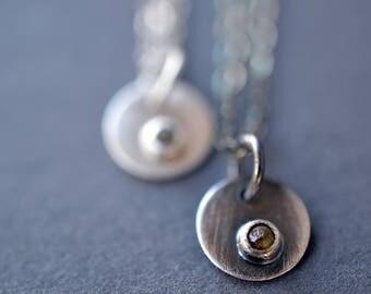 Dainty Diamond Choker- thin chain choker, minimalist choker, tiny gemstone choker, raw diamond pendant, simple choker, diamond necklace