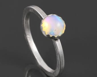 Ethiopian Opal Ring. Sterling Silver. October Birthstone. Genuine Opal. Stackable Ring. Ready to Ship. Size 6.5. s17r005