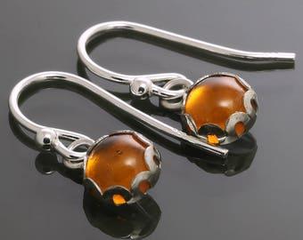 Baltic Amber Earrings. Sterling Silver. Genuine Gemstone. Lightweight Earrings. 6mm Round. Bezel Setting. s16e024