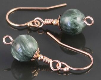 Seraphinite Earrings. Rose Gold Filled Ear Wires. Genuine Gemstones. s17e070
