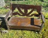Dollhouse Bench Folk Art handmade wooden Fairy Bench