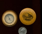 ANTIQUE COMPASS in MAUCHLINE Ware Wood Box Mt. Washington made England