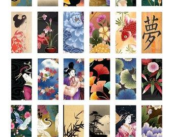 Oriental Art Domino No. 1 - 1x2 Inch - Digital Collage Sheet - Instant Download