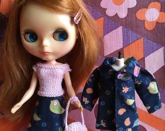 REDUCED Blue Birds - 4 Piece coats set with coat, skirt, top & bag