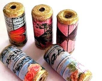 Beautiful Butterfly - Paris Paper Beads -  Handmade Tube Beads - PB20