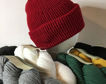 7 color choices - Hat or Mittens - Double Thick Hat or Hand Knit Mittens - Superwash Merino Wool