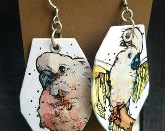 Roz the Pink Cockatoo - Hand-Painted bird earrings Portland Oregon