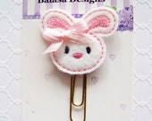 Pink Bunny Easter Planner Clip, Bookmark, Planner Accessory, Paper Clip
