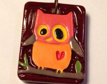 Owl Ceramic Art Pendant