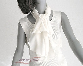 Light Ivory Natural White Silk Scarf, Sheer Small Petite Scarflette, Bridal Pure Silk Chiffon 100%, White Evening, Artinsilk, Ready to Ship.