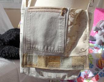 "Upcycled Crossbody bag, 11"" x 11"", adjustable strap, shoulder bag, casual bag, purse, messenger bag, cross body bag, upcycled bag, OOAK"