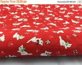 50% OFF- Calico Kittens Fabric-Red Quilting Cotton