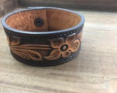 Tooled Leather Cuff-Create Your Own-Floral Leather-Word Cuff